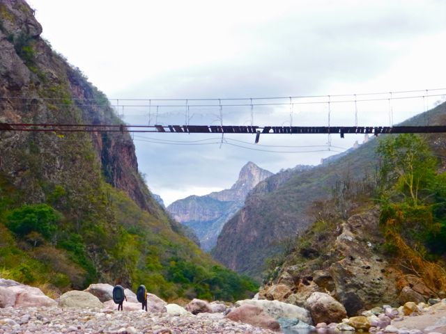 Copper Canyon Trails Guides Backpacking along the Rio Urique a Mile Below the ChePe Train stop at Divisadero.